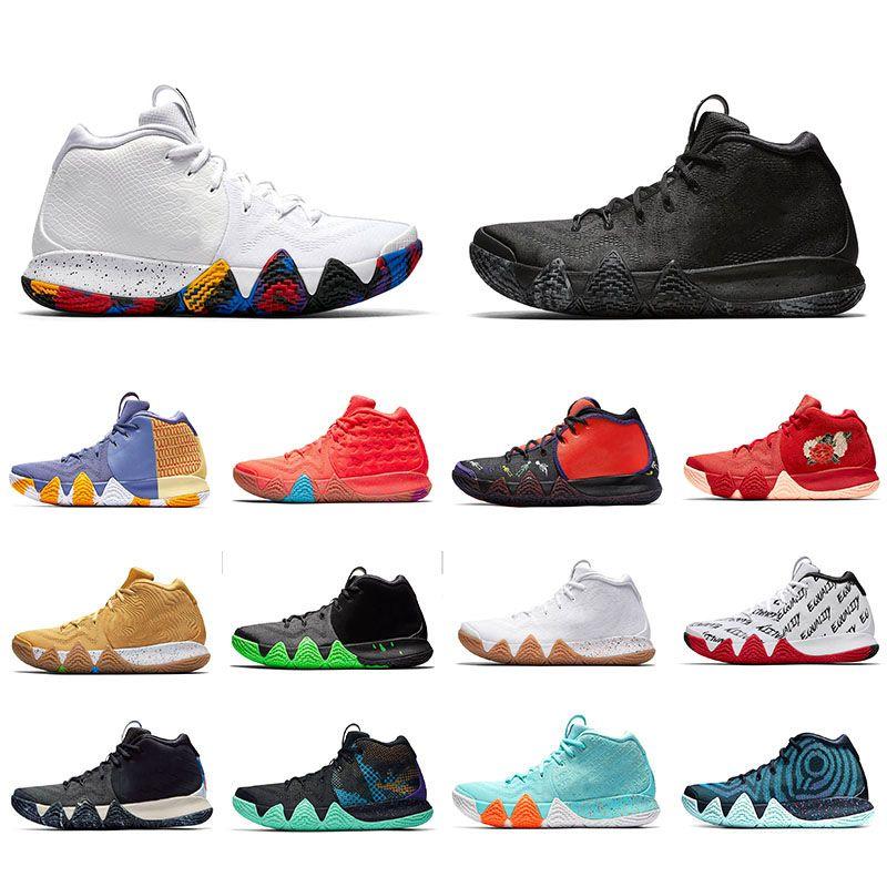 Мода Kyrie Shoes 4 повседневные кроссовки Irving 4s Shoes Многоцветный галстук-краситель Mamba Obsidian Kyries Спортивные кроссовки для мужчин Роскошные мужские туфли