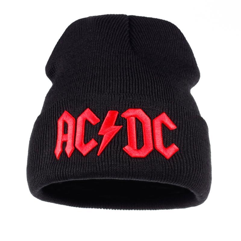 Cálido TUNICA Hombres Mujeres Winter Beanie Hat Rock ACDC AC DC Rock Band / caliente del invierno suave de punto Gorros gorra Para Hombres Mujeres