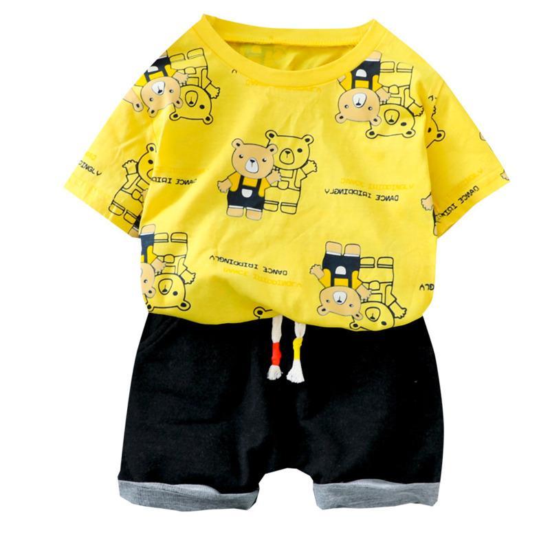Los niños de manga corta del nuevo del verano niños de la ropa muchachas de los bebés Imprimir camiseta shorts 2pcs / juegos ropa infantil del niño del chándal