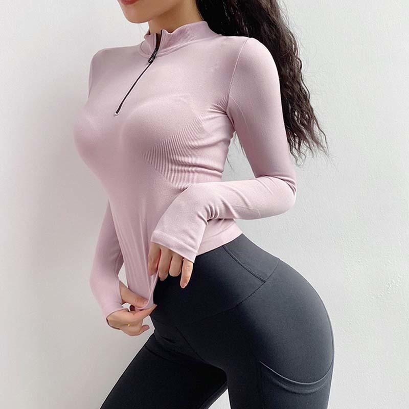 Entrenamiento sin fisuras Tops Mujeres camisas de la yoga gimnasio de deporte Correr la camiseta de manga larga camisas aptitud deporte de la mujer sobre el tema T200411