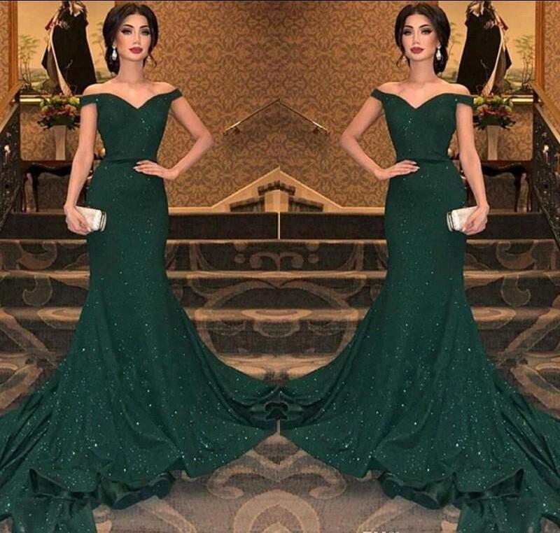 2019 i più nuovi arabo verde scuro Sequined della sirena dei vestiti da sera fuori dalla spalla del pavimento increspata lunghezza abito da sera di promenade del partito