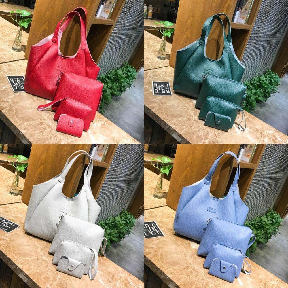 Frauen-Knödel Art und Weise vier teilige Schulter vierteiliges Set portable PU-Schulterbeutel Allgleiches Normallack Litschi Fashion Bag