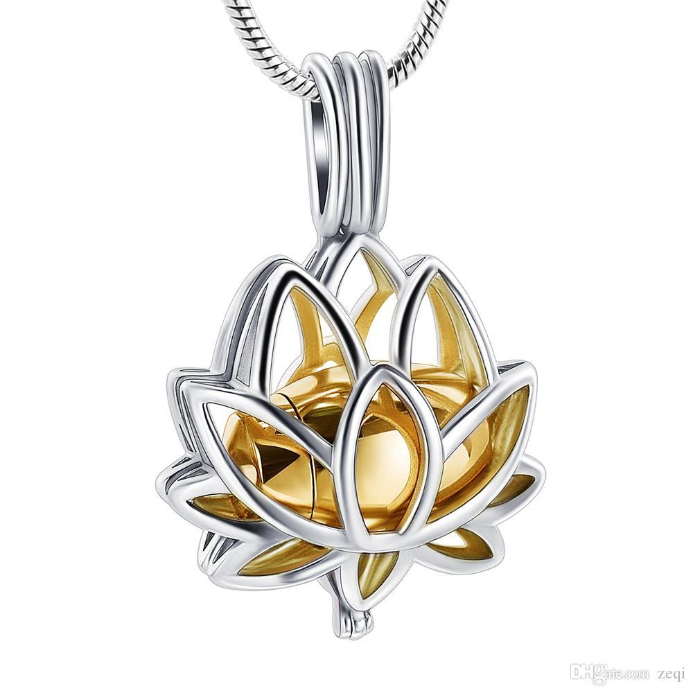IJD20001 زهرة اللوتس تصميم الذهب البسيطة جرة البطانة عقد المزيد من رماد جنازة النعش الفولاذ المقاوم للصدأ الحرق المجوهرات قلادة