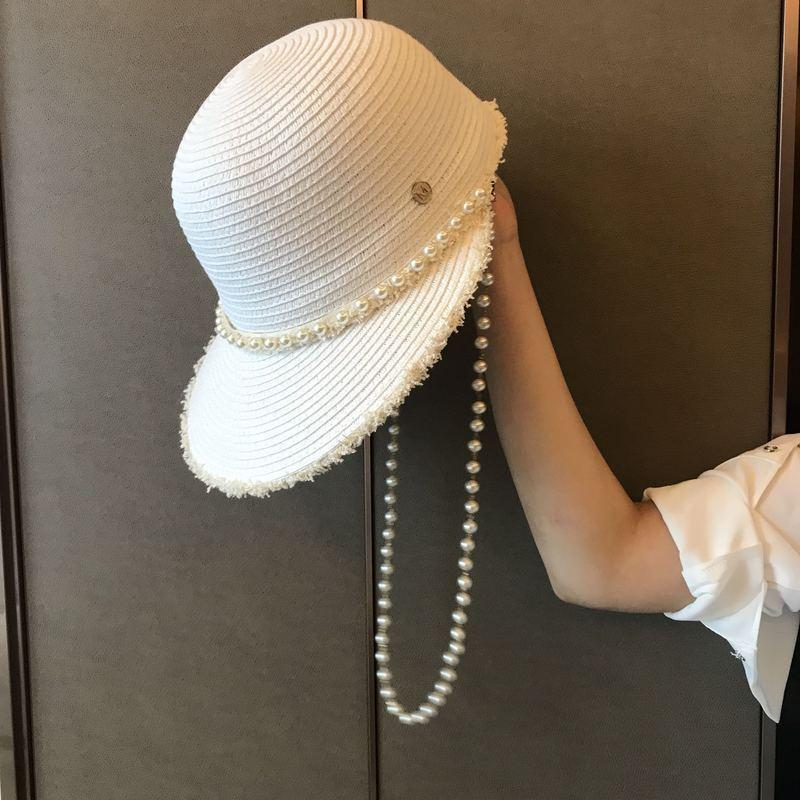 INS Fashion Raffi Straw Hat Personality Pearl Beach Sun Hats for Women Summer Outdoor Sun Protection Hats