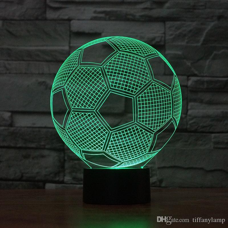 LED Night 3D Luz Futebol 7 Cores Alterando Illusion Touch USB Futebol Visual Luzes Decoração Desk Luminaria presente Abajur