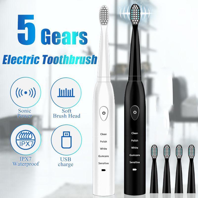Cepillo de dientes eléctrico USB para adultos temporizador cepillo de dientes recargable ultrasónica eléctrica Cepillos Cabeza IPX7 impermeable durable de la batería