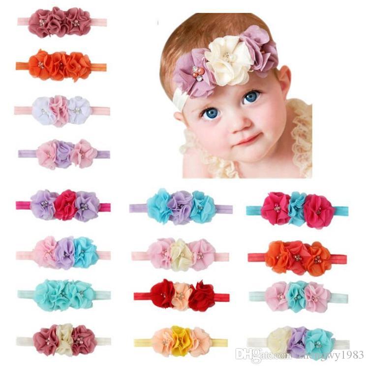 3 fleurs bébé Gril perle bandes de cheveux cristal en mousseline de soie fleur combinaison ensemble élastique Bandeaux Couvre-chef bande de tête Accessoires cheveux DHL FJ447