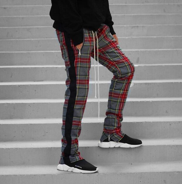 High Street Vintage Plaid Jogger Pants Stripes Pants for Men Slim Fit Pencil Pants Mens Hip Hop Streetwear