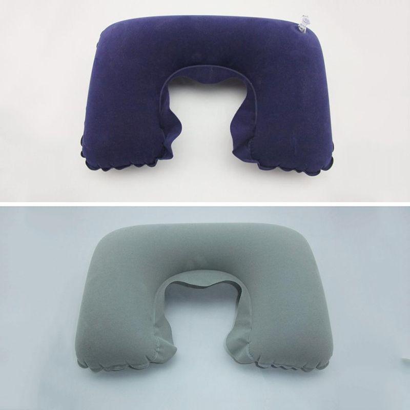 Práctico en forma de U del cuello del recorrido al aire libre almohada inflable cuello vuelo suave del amortiguador del resto del avión Oficina del coche inflable Almohada para cuello