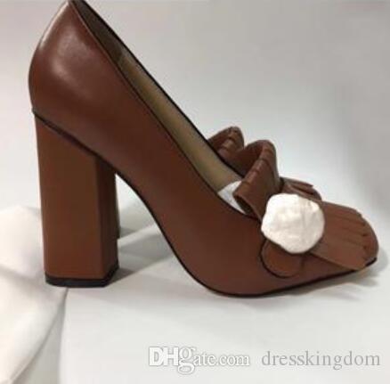 2019 подлинный воловьей кожи на высоком каблуке лодка обувь весна осень сексуальный бар банкетный женщины обувь 10 см металлическая пряжка толстый каблук Обувь 34-42