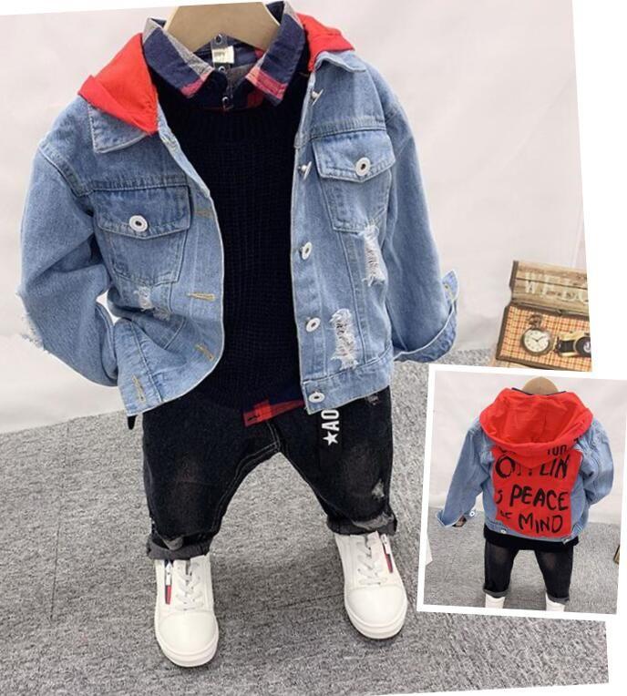 Linda chaqueta del niño de los niños del cabrito niños de algodón de dril de algodón, tejer chaleco, camisa, pantalones vaqueros ropa de los muchachos conjuntos otoño del resorte Trajes Set 2-6year