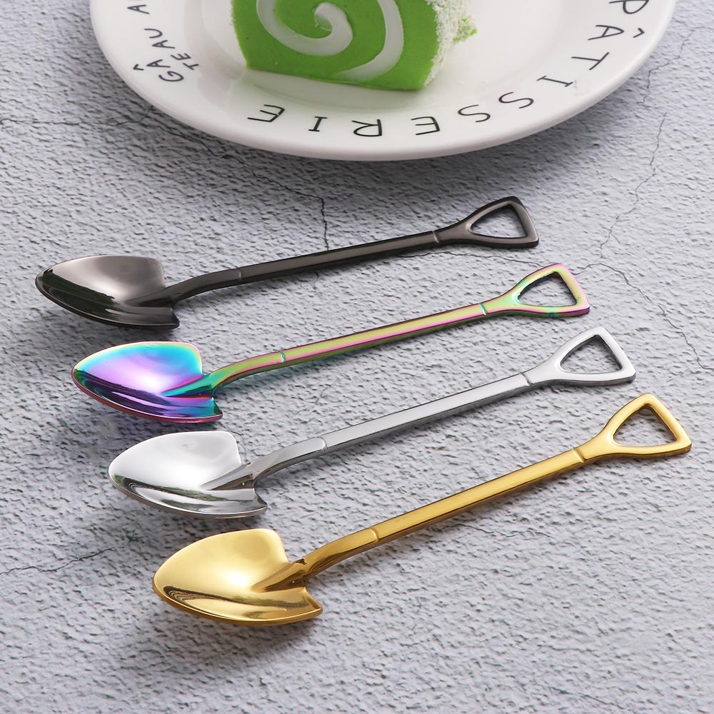 1PC acero inoxidable Forma Pala cuchara del helado multicolor Cuchara Tenedor mango largo café helado filetea los accesorios de cocina