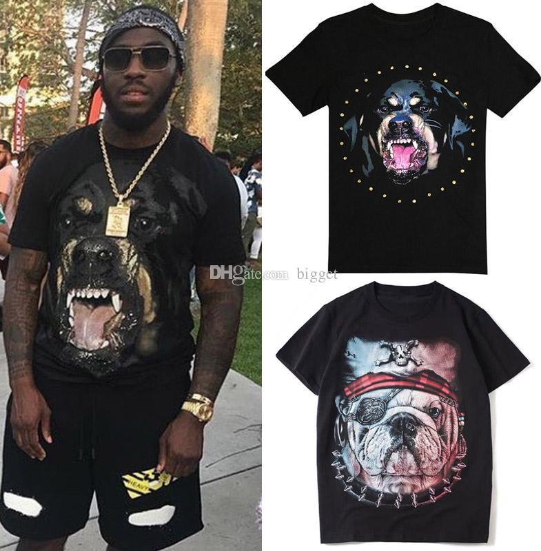 Man Print Dog T Shirt Italy Fashion Design Slim Fit Tee Men Short Sleeve Soft Cotton Crew Round Top Mens