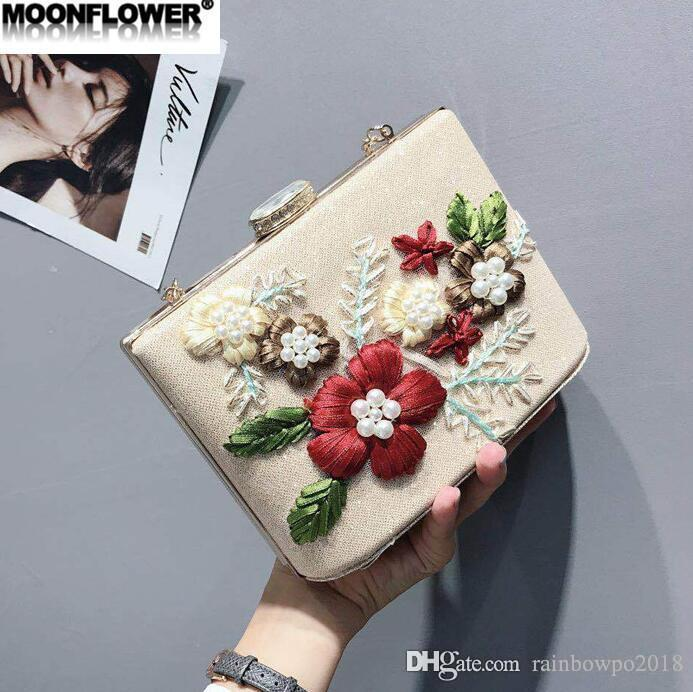 Wholesale brand women handbag sweet embroidery holding dinner bags 3D flowers Pearl hard box chain bags shiny embroidered diamond handbag