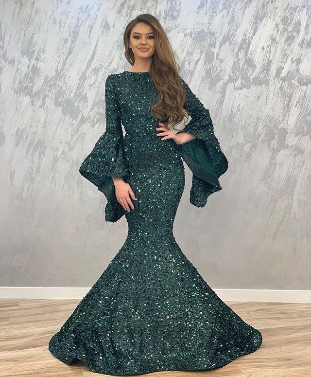Shiny Dark Green Mermaid Evening Dresses Sequined Long Sleeves Formal Wear Evening Party Gowns Prom Dress Vestido de fiesta Abendkleid