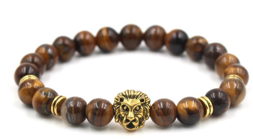 8mm ghj4 élastique ajusté Macrame charme nature grès Lion Tête Charme Bracelet