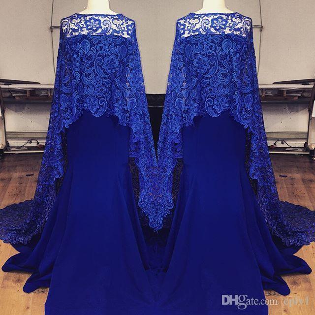 Eleagant azul vestidos de noite de renda sereia strapless decote vestido de baile trem de varredura árabes vestidos de festa à noite com cape