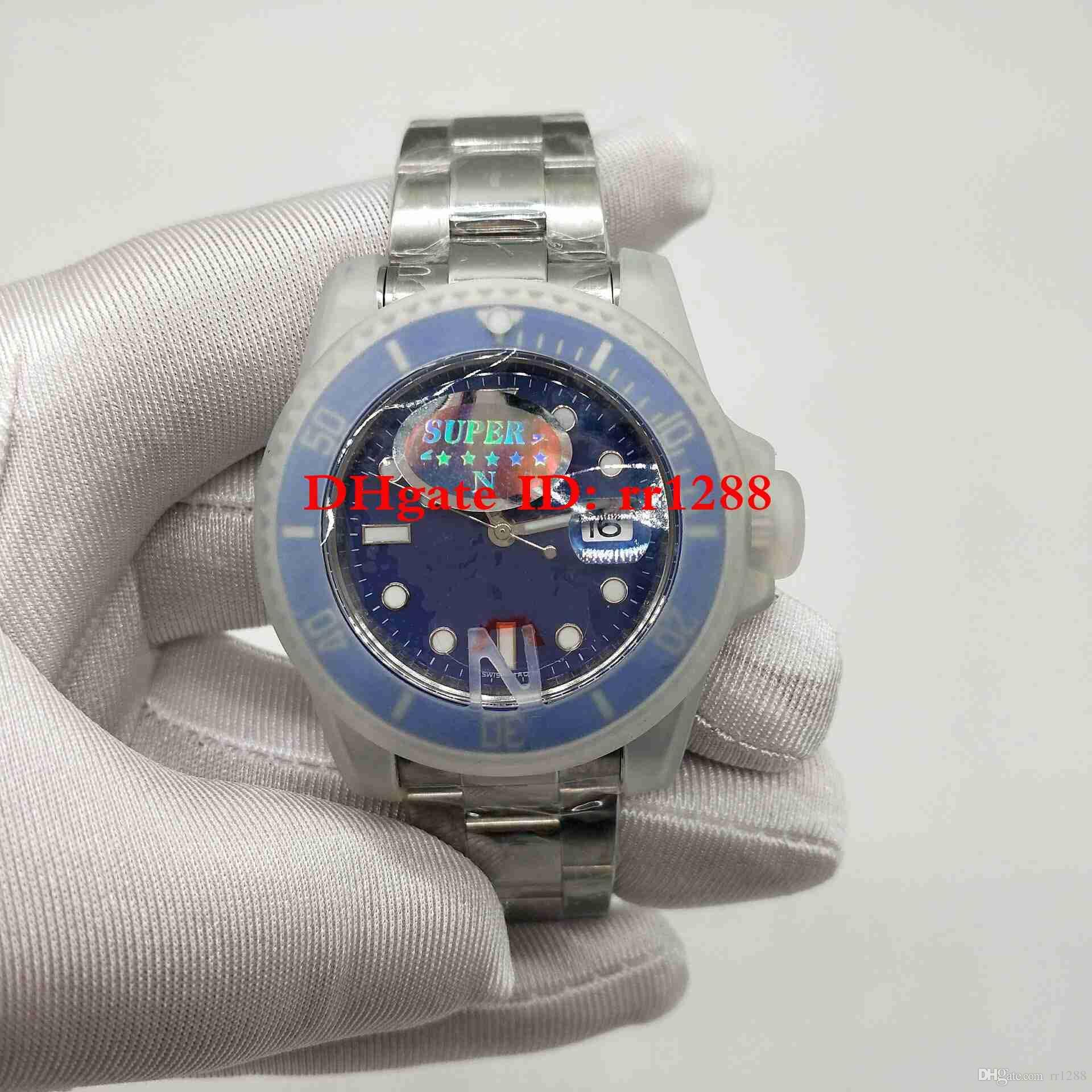 Super N Fabrik Uhr 116619LB V7 2813 Automatikwerk Keramik Lünette Saphirglas 40 MM Blaues Zifferblatt 116610 116619 Tauchen Herrenuhren