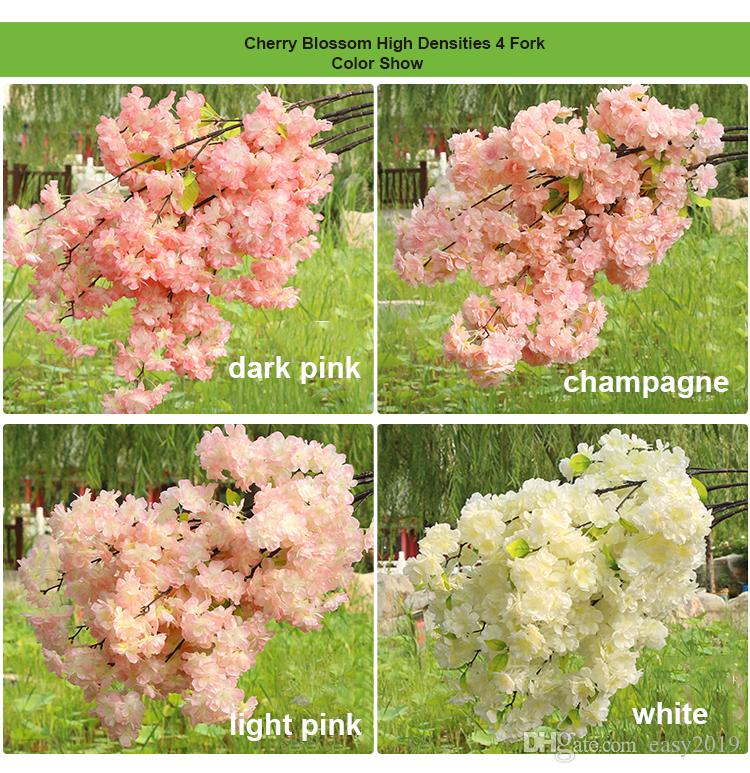 Высокая Плотность 4 6 fork Fake Cherry Blossom Цветочная ветка Бегония Сакура Дерево Стебель для Событий Свадебное Дерево Деку Искусственный Декоративный Цветок