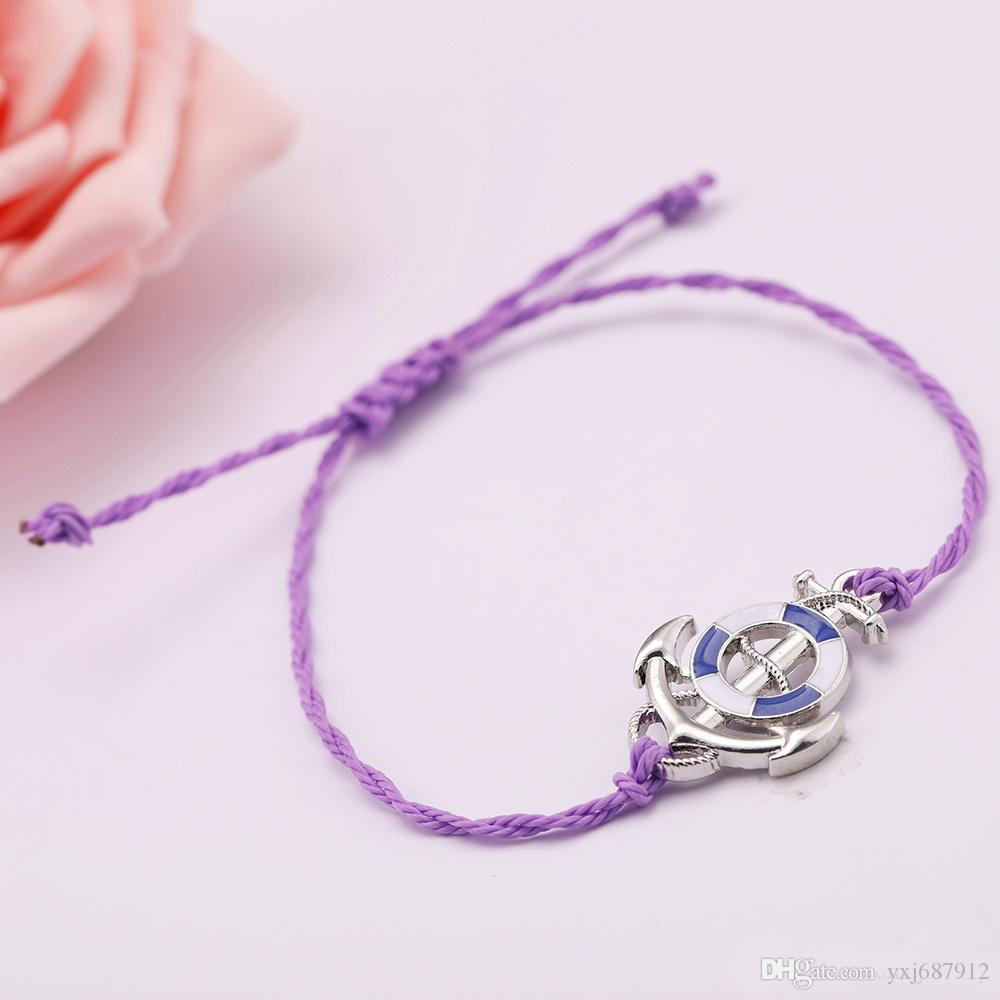 Adjustable South American Round Wax Cord Rhodium Color Blue Enamel Nautical Anchor Pendant Wrist Bracelets For Women/Men