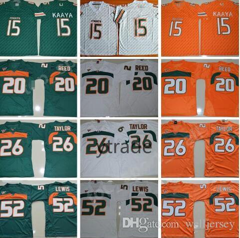 NCAA Brad Kaaya Maillots Miami Hurricanes College Football 20 Ed Reed 52 Ray Lewis Jersey ACC Blanc Vert Orange 26 Sean Taylor S-3XL