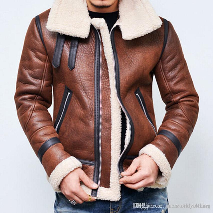 Casacos de couro grossos de inverno homens quentes cashmear de lã casaco de gola jaqueta casacos