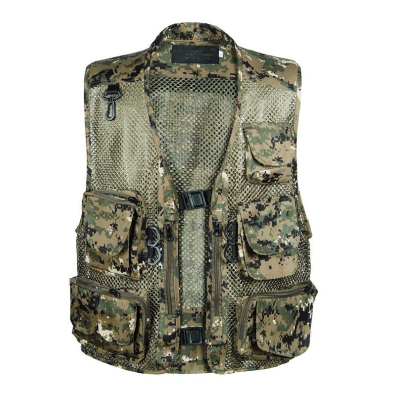Spring Vest With Many Pockets For Men Camo Printed Mesh Summer Multi-pocket Waistcoat 5-5