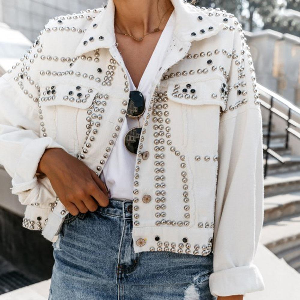 Trendy Rivet Lapel Single-Breasted Jacket Women Chic Autumn 2019 Fashion Tops Outwear Coats Femme Short Jackets Streetwear Y191031