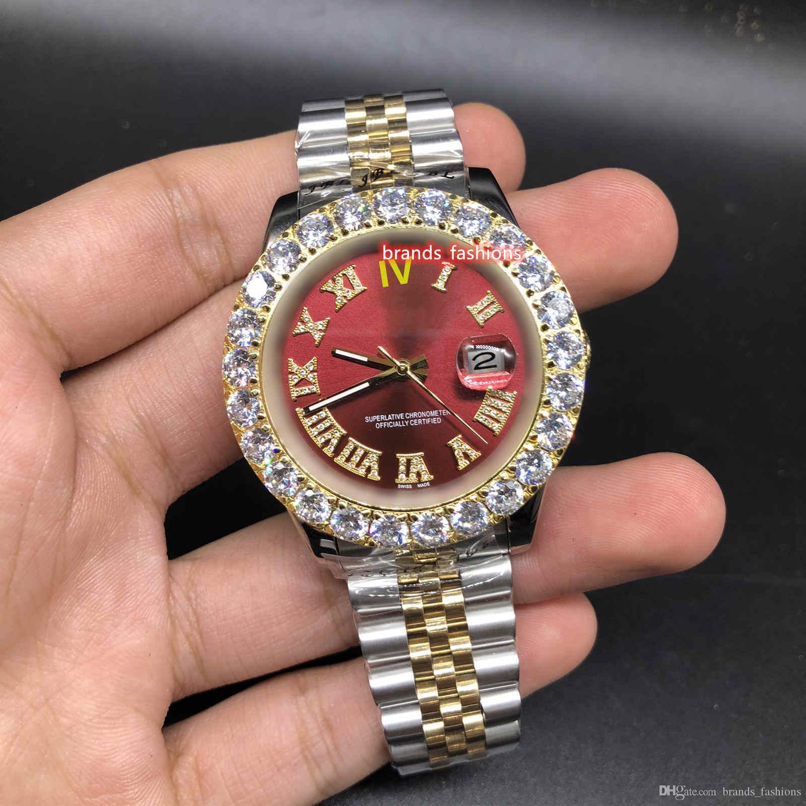 프롱 세트 다이아몬드 시계 레드 페이스 시계 양성 골드 스테인레스 스틸 스트랩 시계 자동 기계 스포츠 시계