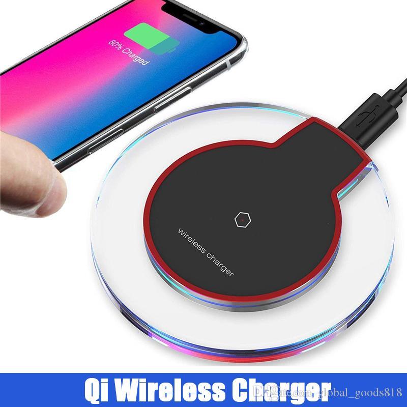 Telefone universal qi sem fio carregador de cristal transparente pad carregador com cabo usb para iphone 8 x xs samsung s8 s9 nota 8 9