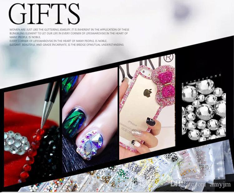 Nail art decoration of swarovski element crystal diamond series drill SS4-SS16 Unique 14 Crystal face manicure drill 50pcs wholesale