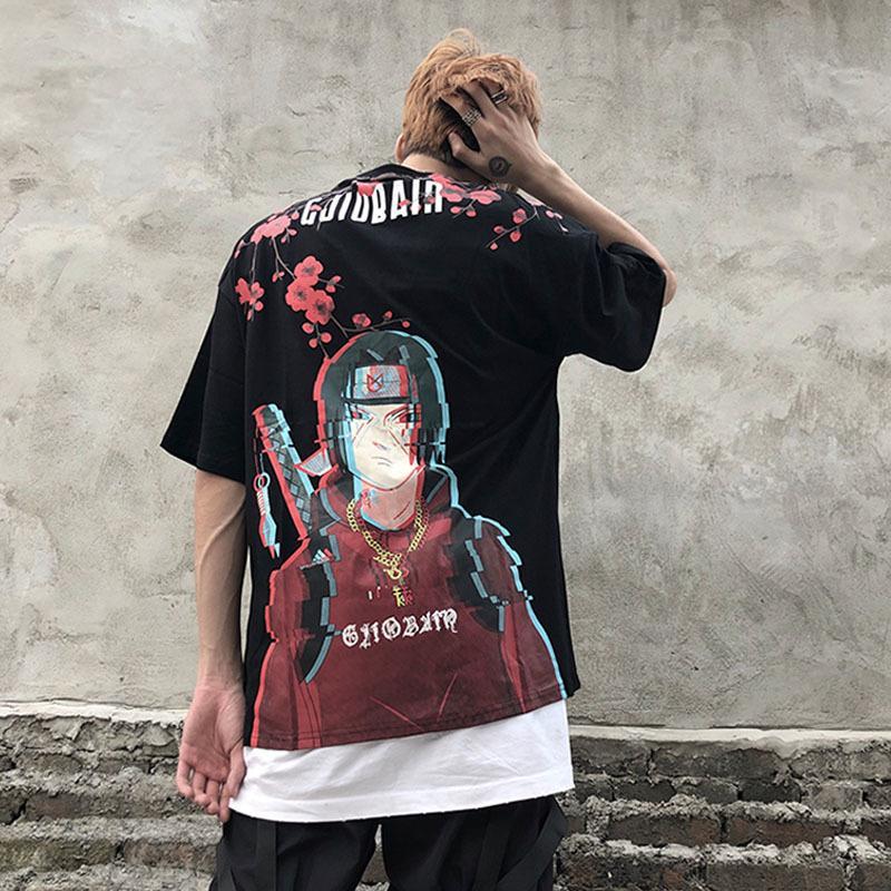 Мужчины Hip Hop Футболка Японская Harajuku Мультфильм Наруто Футболка лето Топы Тис Хлопок Tshirt Крупногабаритные 2019 Новый Y200104 Прибытие