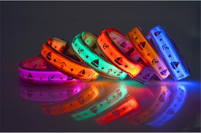 Камуфляж светодиодный проблесковый Собаки новые 7 цветов светодиод мигает ошейник светодиодный животное ошейник ожерелье/кошка воротник