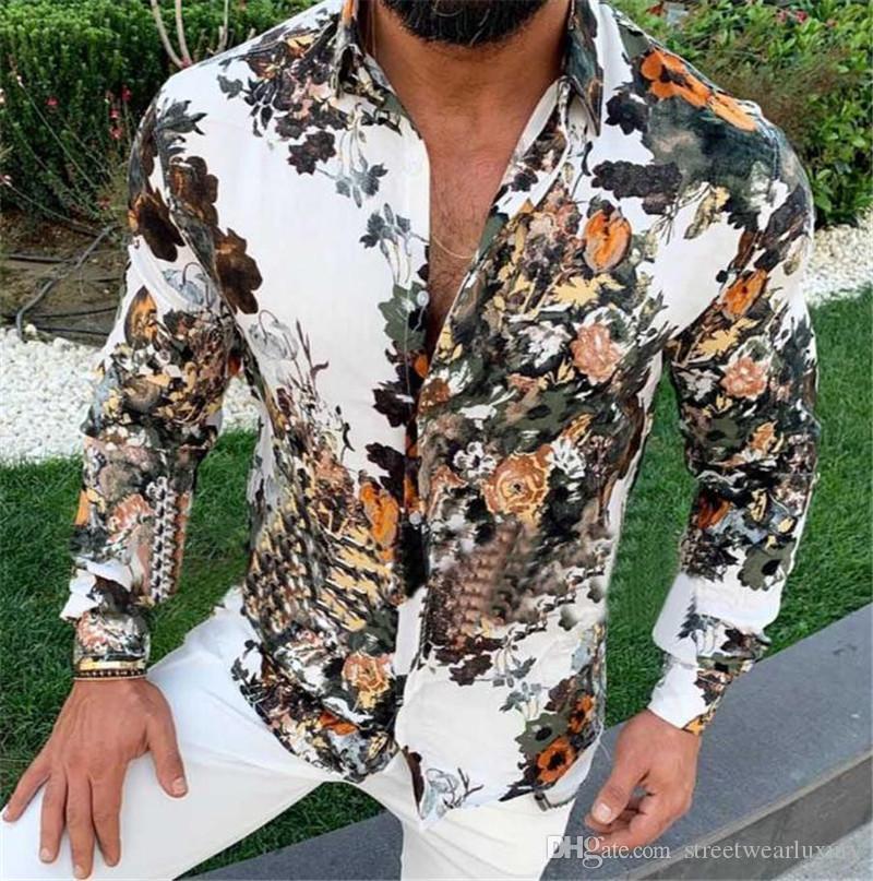3D Digital Print camisas del Mens ocasionales delgado de la manera de la impresión floral de la manga larga para hombre de diseño Camisetas Casual hombres Ropa