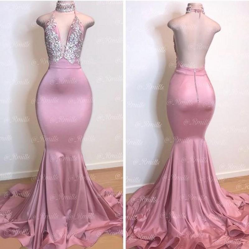 Étincelle rose pailletée Prom robes longues sexy Halter sirène sans manches Robes de soirée Party Special Occasion Dress