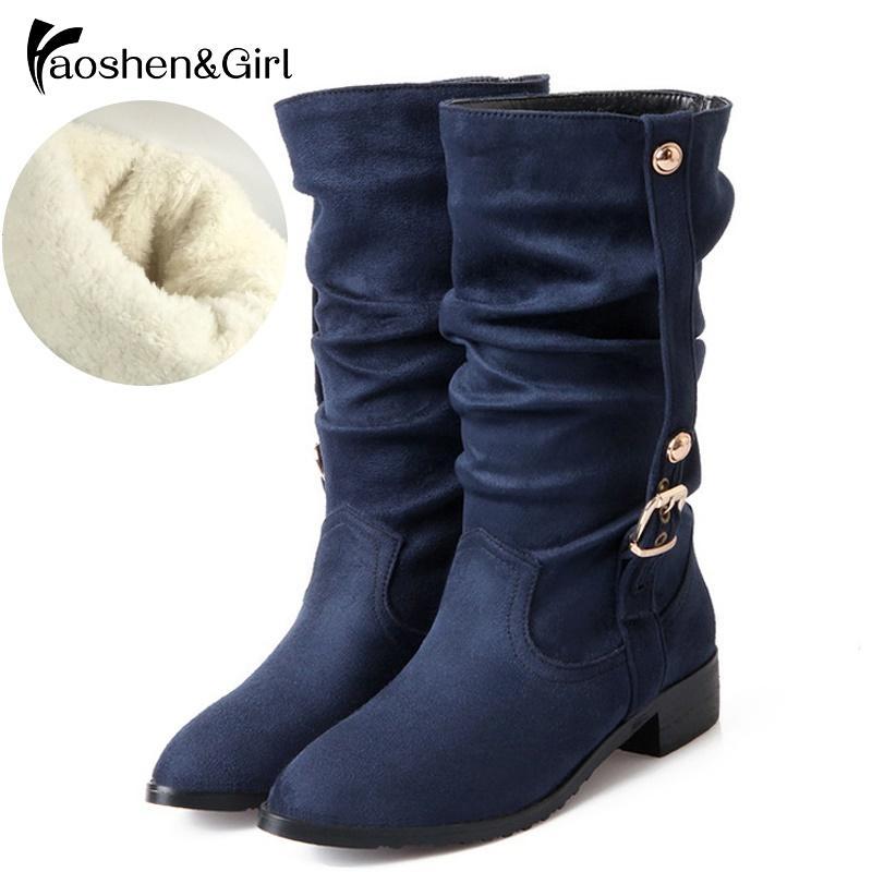 HaoshenGirl Big Size 28-52 scarpe Mezza neve stivali caldi tacchi in cuoio Autunno Inverno Stivali da equitazione del vento di qualità Donne Botas LY191224