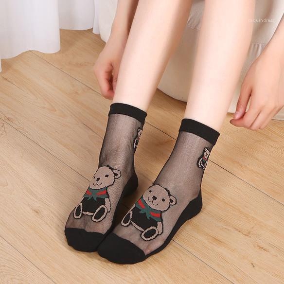 Tude Sheer Socks Womens Designer See Through Socks Fashion Cute Bear Printed Socks Womens Casual Mid