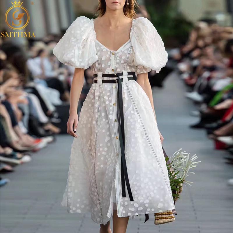 SMTHMA 2020 neue Art und Weise Frauen-Punkt-Kleid mit V-Ausschnitt mit Puffärmeln mit hohen Taille mit Schärpen Sommer lange Kleider Vestido