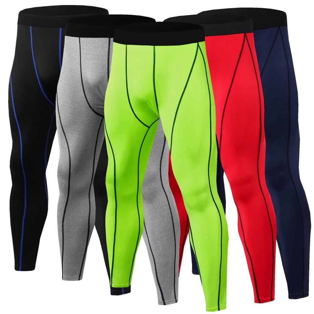 Fashion-Wholesale 2019 Men Running Pants GYM Fitness Compression Tights Sports Pants Football Basketball Soccer Jogger Leggings