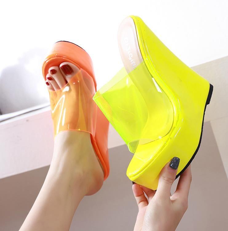 Più di formato 35 a 40 41 42 giallo arancione chiaro incunea piattaforma tacchi tacchi di lusso donne di design dotate di scatola