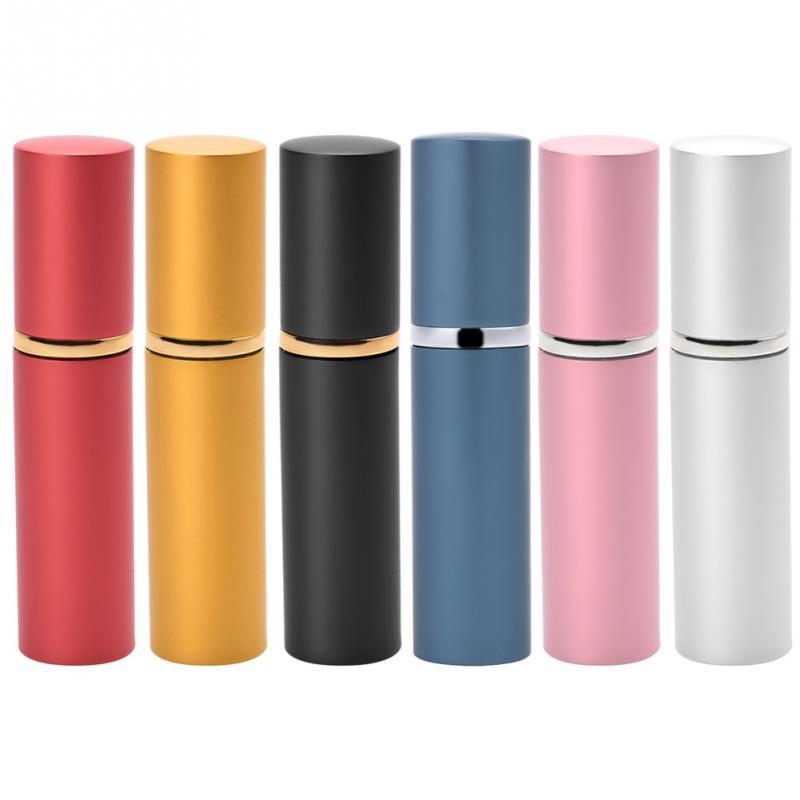 6 Farben-Qualität 10ml Metallduftstoff-Flasche aus Aluminium nachfüllbar Atomizer Tragbare Leer Pump Lotion Sprühflasche ein