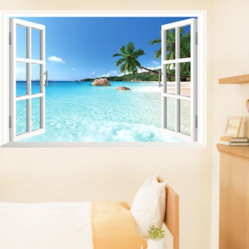 Removível Sea Beach 3D Window View Cenário adesivo parede Decor Decal Praia janela falso adesivos de parede