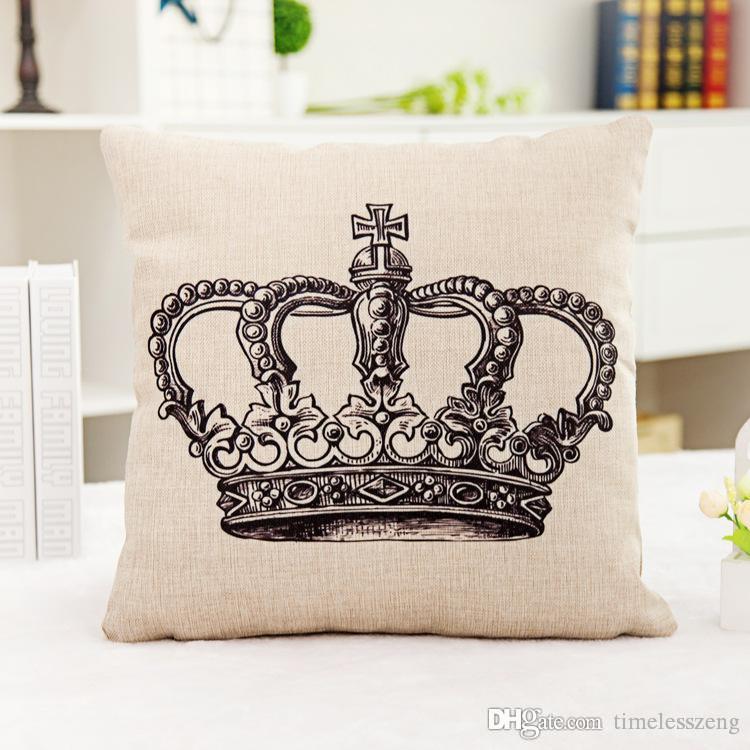 Nordic caso estilo travesseiro cintura Crown carta onda fronhas de linho capa de almofada presente Home office têxtil