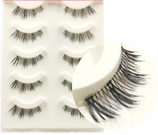 5 Pairs Fake Eyelashes Handmade Half False Eyelashes Qualtiy Fiber Makeup Lashes Natural Soft Eye Extension Tools