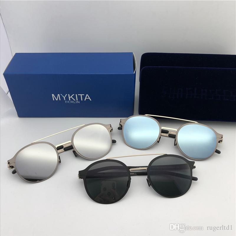 2019 nuovi occhiali da sole Mykita ultraleggero senza viti MKT CROSBY marchio occhiali da sole cornice rotonda lembo superiore degli uomini del progettista rivestimento delle lenti a specchio