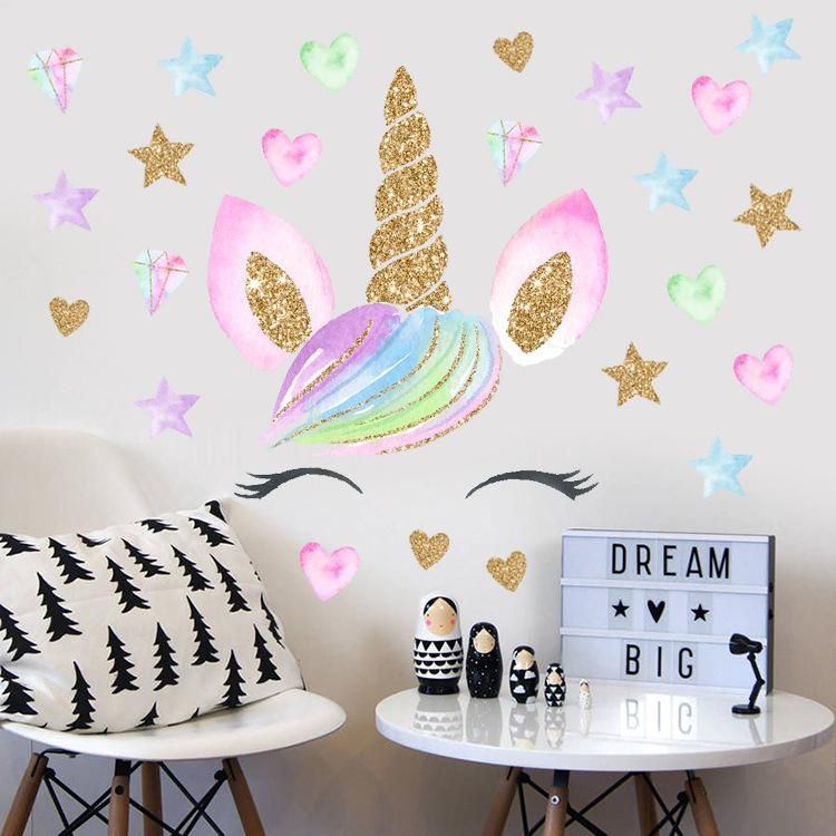 Kids room stickers Nursery wall decal 92 Wall decals Gold stars Wall Stickers child room decal girl room decal Nursery wall stickers