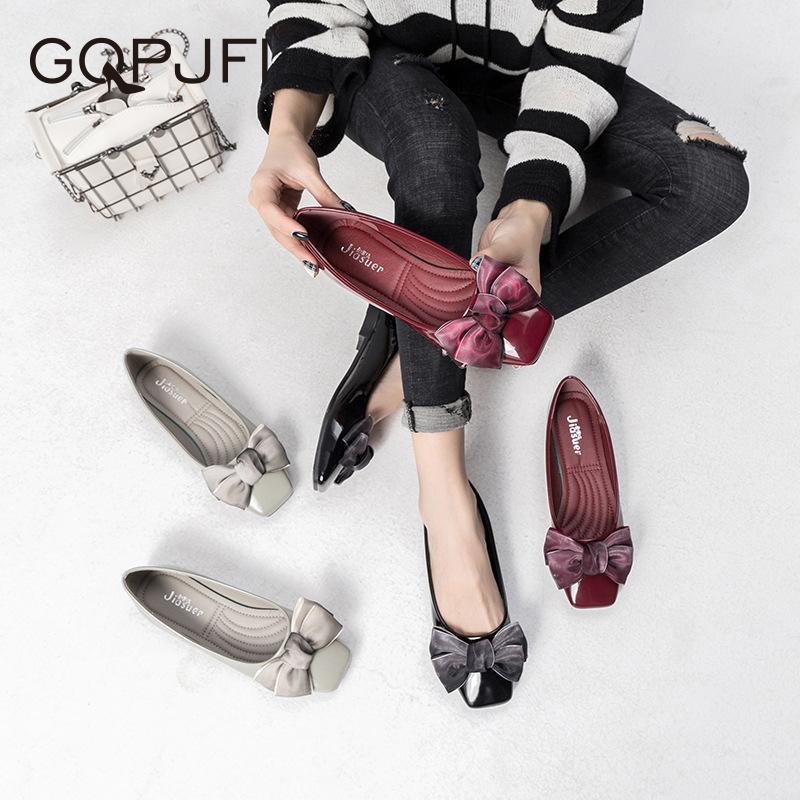 2020 Мода Дамы плоские Балетки дамы сладкий лук круглый носок открытый носок Мокасины вскользь Женская обувь Спорт