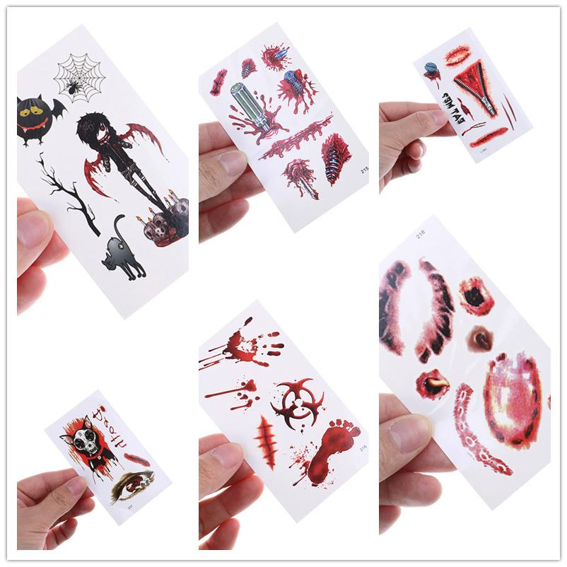 1 Sheet Halloween Tattoo Stickers Scars Spider Horror Eyes Blood Footprints Skull Zipper Wound Tattoo Stickers 11.5 X 7cm