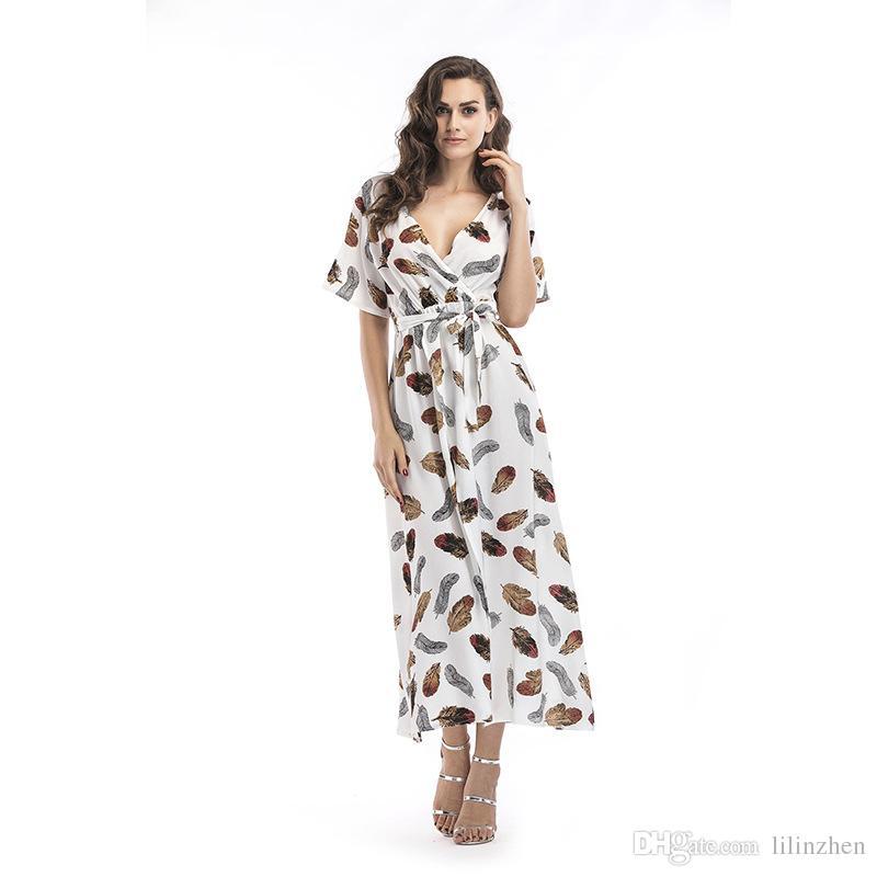 Sommerkleid für den Außenhandel für Damen in Europa und Amerika mit tiefem V-Ausschnitt und mehrfarbigem, kurzärmligem Chiffon-Strandrock