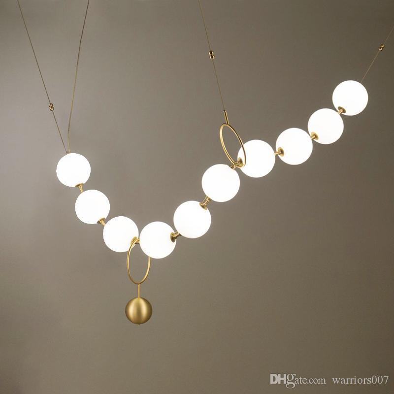 فاخر البساطة عقد من اللؤلؤ اللوبي الثريا فن الزجاج LightsLiving غرفة نموذج معرض قاعة الشخصية فقاعة مصابيح LED Hanglamp